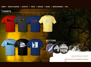 Assassins band website designed by Zephyr Syndicate Chauncey Hollingsworth
