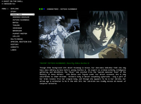 Ghost in the Shell website designed by Zephyr Syndicate Chauncey Hollingsworth